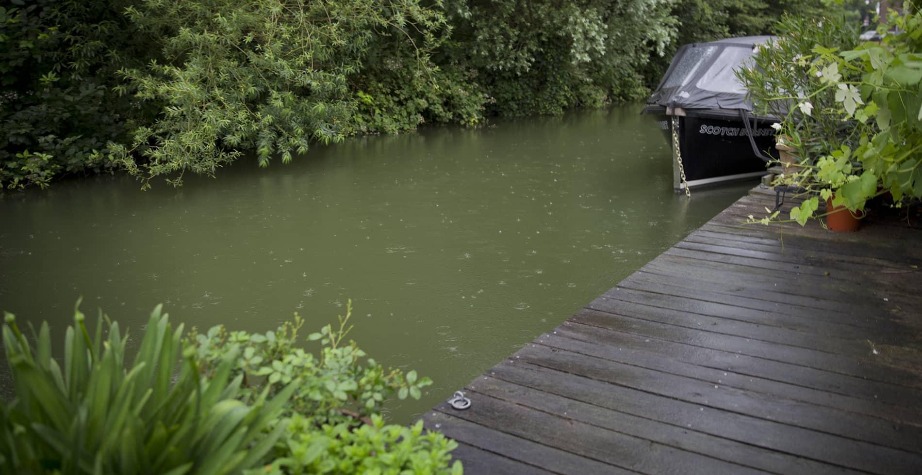 Landelijke tuin aan het water